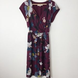 Loft Dress Wrap Around Top Flare Bottom Size M